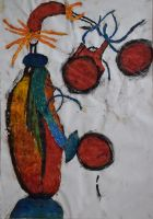 joy dance red colour collage painting