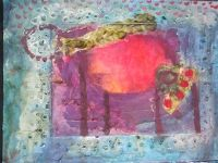 Beach-combing sea coast painting collage