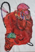 joy dance red colour collage painting organic flower