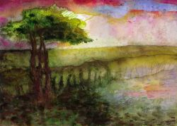 Carnwath bog sunset print from original painting